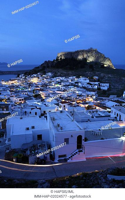 Lindos, view of the town and the Acropolis, evening, Rhodes, Dodecanese, Greece