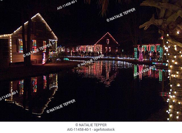 Christmas lights, Acadian Village, Louisiana