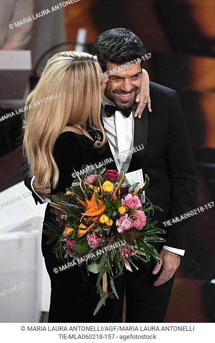 Michelle Hunziker, Pierfrancesco Favino .68th Festival of the Italian Song. Sanremo, Italy 06/02/2018