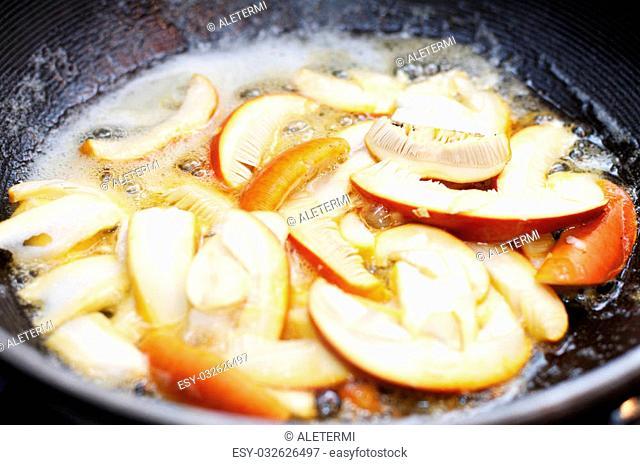 Caesar's Mushroom, Amanita Caesarea cooking in frying pan