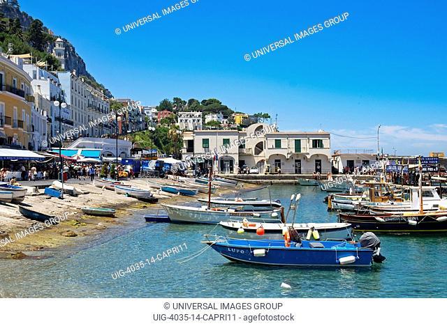 fishing boats at marina grande on the island of Capri, Italy