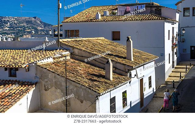 View of several roofs in Altea old town, Alicante province, Spain