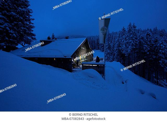 Lenggrieser Hütte (hut) in winter at night, Lenggries, Bavarian Prealps, Bavaria, Germany