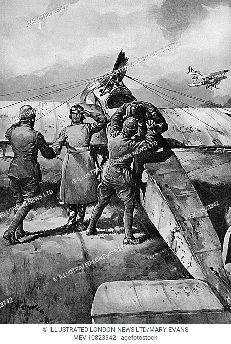 A German monoplane, forced to descend with the British lines on the Western front.  The plane was forced to alight owing to the tactics of the British aviators...