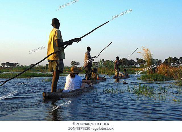Kahnfahrer mit Touristen im traditionellen Mokoro Einbaum auf Exkursion im Okavango Delta, Botswana / Boatmen with tourists in traditional mokoro logboats on...