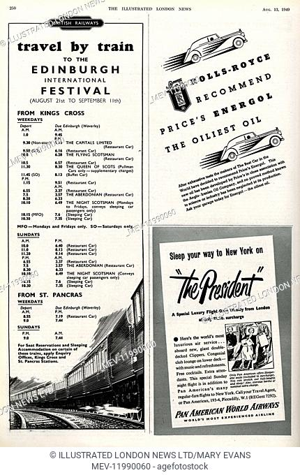 Page of adverts in the Illustrated London News, 1949, including for British Rail - travel by train to the Edinburgh International Festival - for Rolls-Royce and...