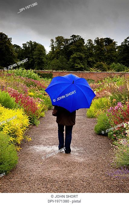 a person walking down a wet garden path holding a blue umbrella, scottish borders scotland