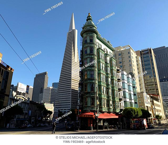 Sentinel Building with Transamerica Pyramid, Kearny Street, San Francisco