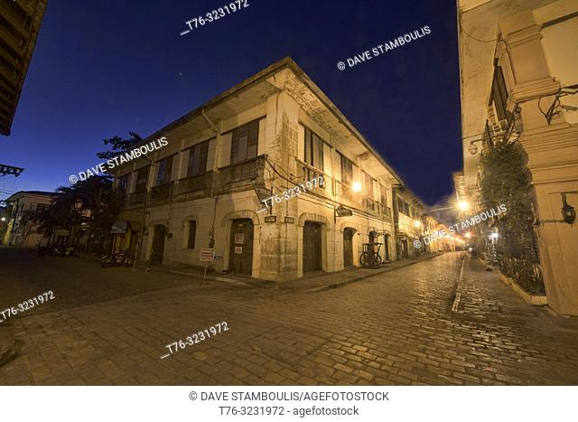 Blue hour on historic Calle Crisologo in UNESCO World Heritage Vigan, Ilocos Sur, Philippines