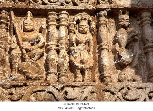 Ancient Hindu carvings adorn the Ramtek Temple complex in Ramtek, Maharashtra, India. The Ramtek Temple complex is said to be the place where Lord Rama reclined...