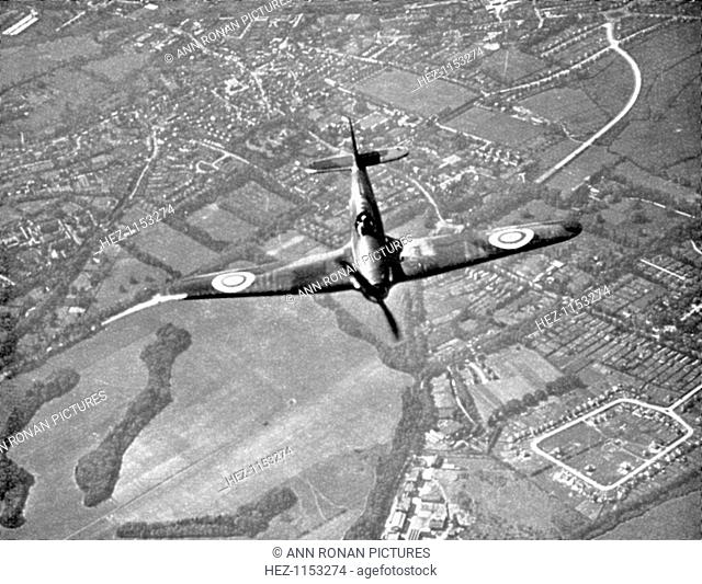 Hawker Hurricane in flight, Battle of Britain, World War II, 1940. A Hawker Hurricane of Fighter Command on its way to intercept German bombers as they crossed...