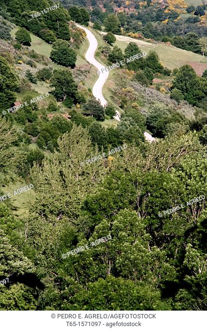 View of Courel, near Hórreos, Galicia, Spain