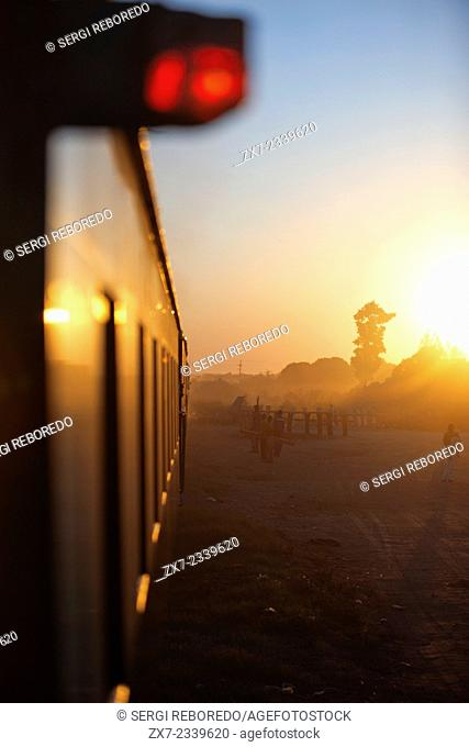 Sunset in the Royal Livingstone Express luxury train. The Steam Locomotive, 156 is a 10th Class originally belonging to the Zambezi Sawmills Limited