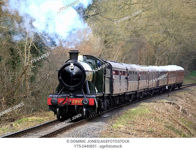 GWR Heavy Freight 2857 hauls a passenger service through rural Shropshire on the Severn Valley Railway, England, Europe
