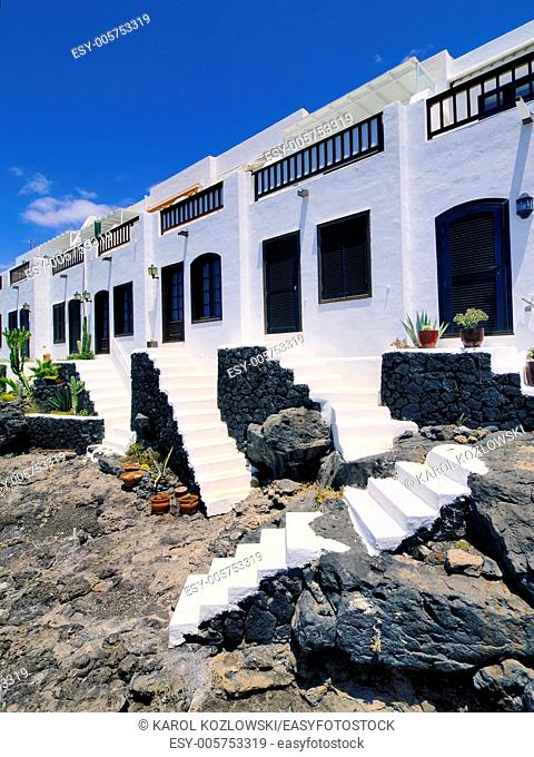 White houses on the island Lanzarote, Canary Islands, Spain
