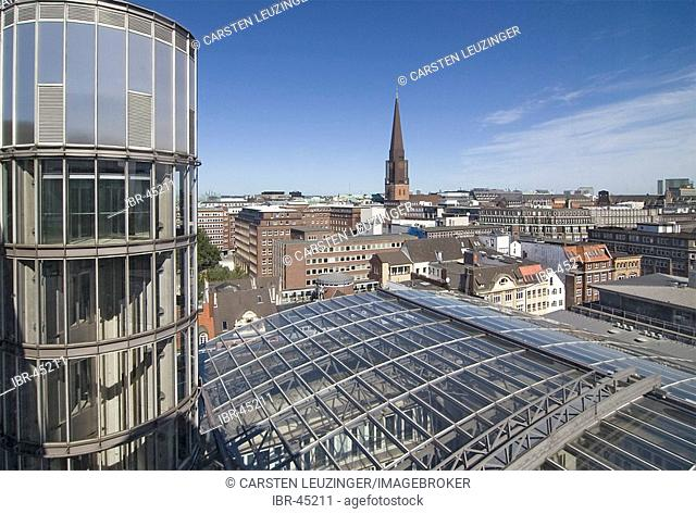 View from an office building over the city center of Hamburg, Germany