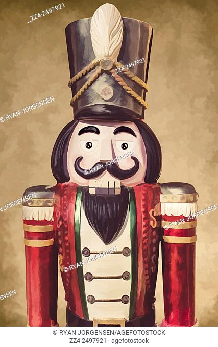 Creative digital artwork of a vintage wooden toy soldier waist up in front view against classic brown paper background. Christmas Nutcracker