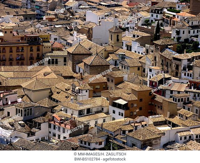 view from the Alhambra at the roofs of Granada, Spain, Andalusia