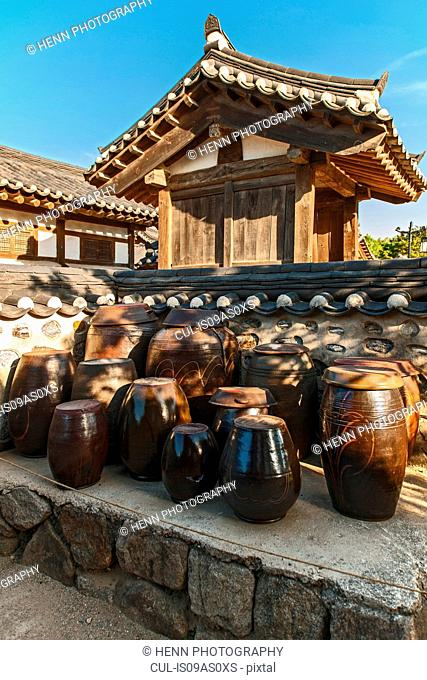 Traditional Kimchi pots at the Hangok open air museum in Seoul, South Korea