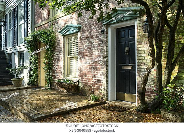 Savannah, GA, USA. Looking at Late Day Sun Reflections on elegant restored homes in the Historical District