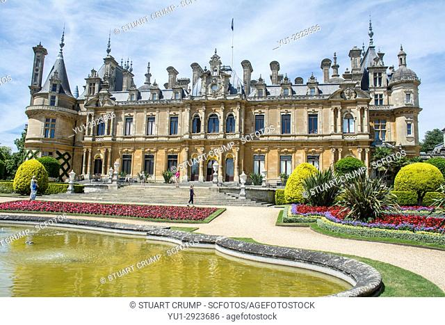 Rear facade water feature and formal gardens of Waddesdon Manor