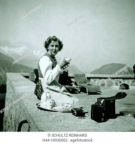 Eva Braun, Braun, sitting, terrace, Bavarian dress, box, camera, Berghof, Berchtesgaden, Germany, 1942, wife, mistress, Adolf Hitler, World War II