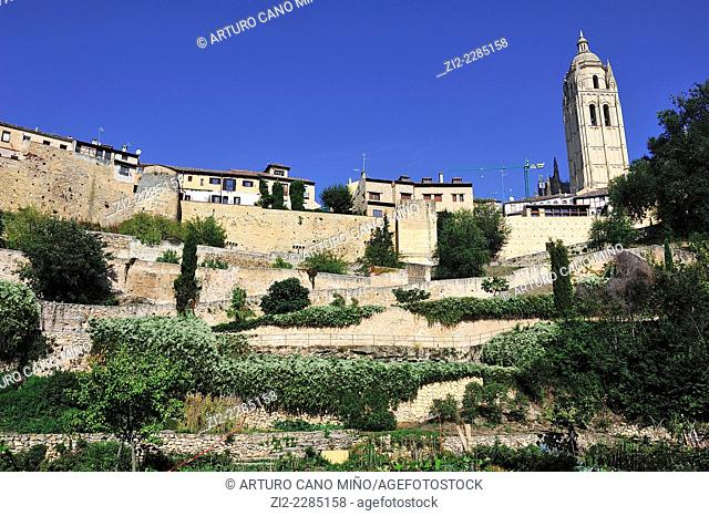 Cathedral and walls. Segovia, Spain