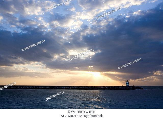 Netherlands, The Hague, Scheveningen, Lighthouse in the evening