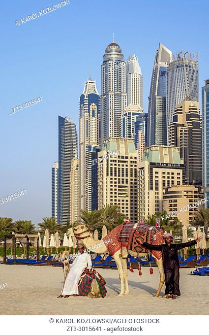 Camel Ride on the Dubai Marina JBR Beach, Dubai, United Arab Emirates
