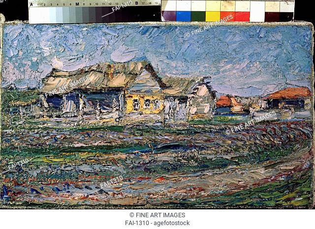 A Village. Burliuk, David Davidovich (1882-1967). Oil on canvas. Postimpressionism. 1900. Armenian National Gallery, Yerevan. 28x47. Painting