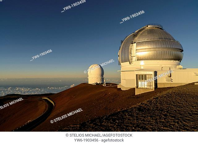 Gemini and UH 2 2 Telescopes on Mauna Kea Volcano, Big Island, Hawaii, USA