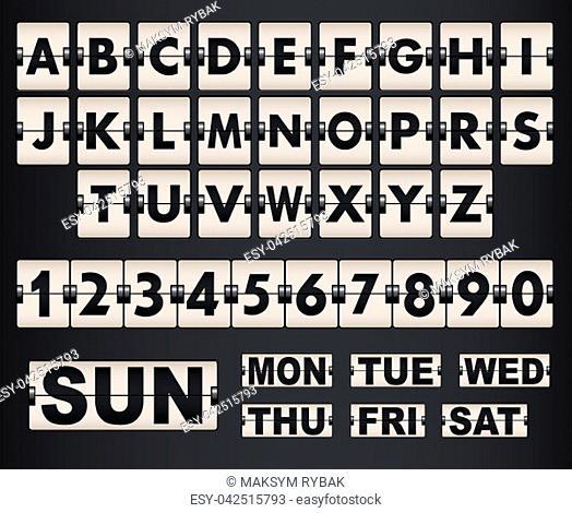 Vector scoreboard letters and symbols alphabet mechanical panel