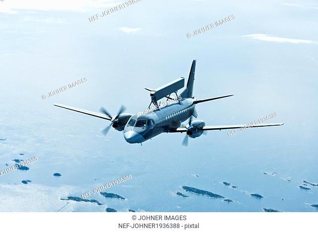Aerial view of military plane, a radar plane