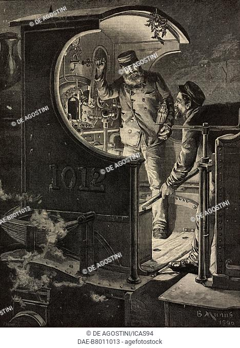 Railway workers discussing the strike on a steam locomotive, United Kingdom, engraving from The Illustrated London News, No 2699, January 10, 1891