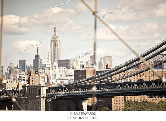 City cityscape and urban bridge
