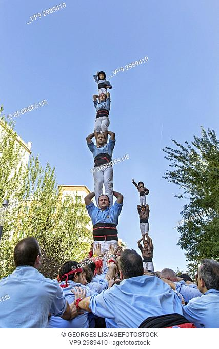 casteller , traditional human pyramid in Barcelona