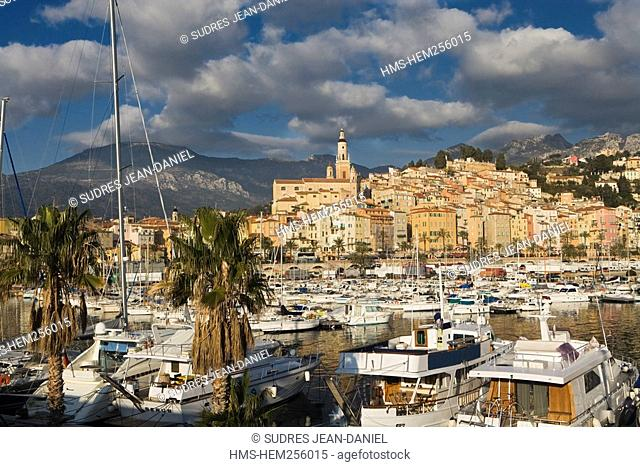France, Alpes Maritimes, Menton, the harbour and the old town with St Michel Church and campanile