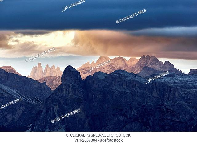 The Puez and Odle silhouette ,Western Dolomites, South Tyrol, Bolzano, Italy