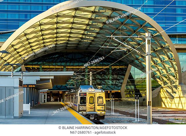 The train station at Denver International Airport, Denver, Colorado USA. The RTD Train to the Plane connects the airport with Denver Union Station in Downtown...
