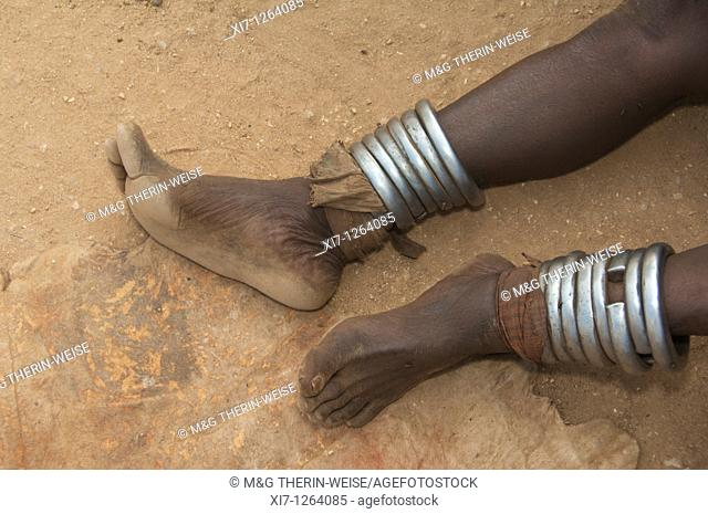 Hamar Woman's leg with metallic anklets, Omo river valley, Southern Ethiopia
