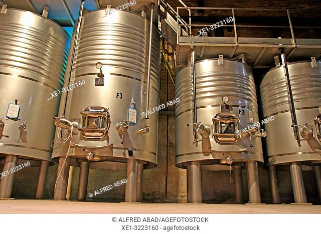 Fermentation tanks at Castell del Remei Winery, Lleida, Catalonia, Spain