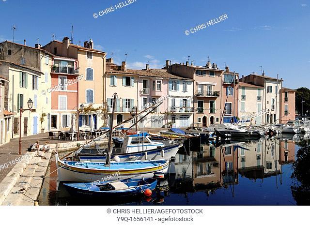 Canalside Houses & Moored Boats on the Canal Le Miroir aux Oiseaux Martigues Bouches-du-Rhone France