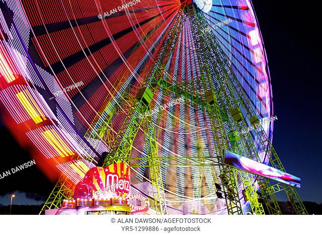 Popcorn stall and big wheel at christmas fair on Gran Canaria, Canary Islands, Spain