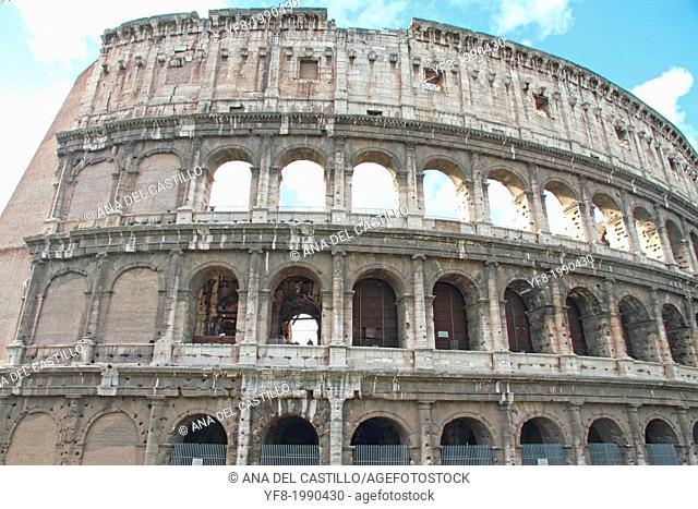 The crimson Colosseum Rome Italy