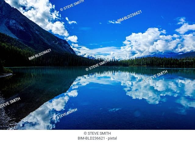 Reflection of clouds in still mountain lake