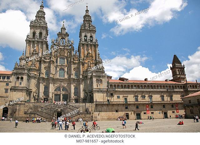 Santiago Cathedral and Obradoiro square, Camino de Santiago, Galicia, Spain