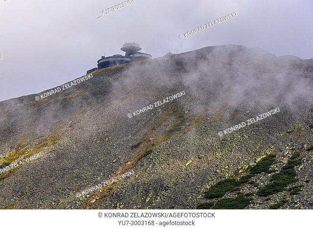 Sniezka Mountain in Karkonosze mountain range in Sudetes, on the border of Czech Republic and Poland