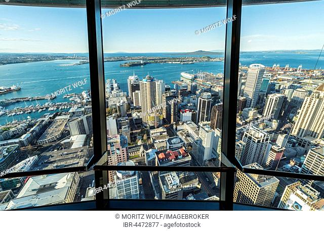 View from the observation deck of the Sky Tower, skyline with skyscrapers, Central Business District, Auckland Region, North Island, New Zealand