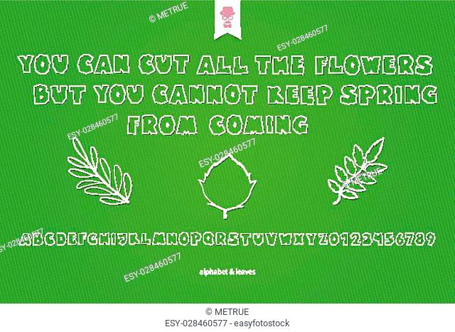 set of white paper stickers, stylish alphabet letters, numbers and tree leaves over green background. vector, cartoon style font type design