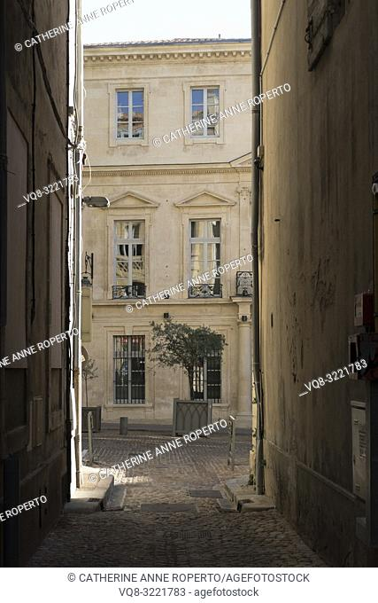 Rippling reflections of buildings opposite, in the classically carved harmonious windows of an elegant stone faced house, with potted olive trees